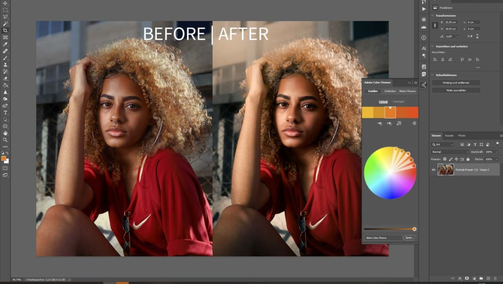 free lightroom presets for portraits - before and after